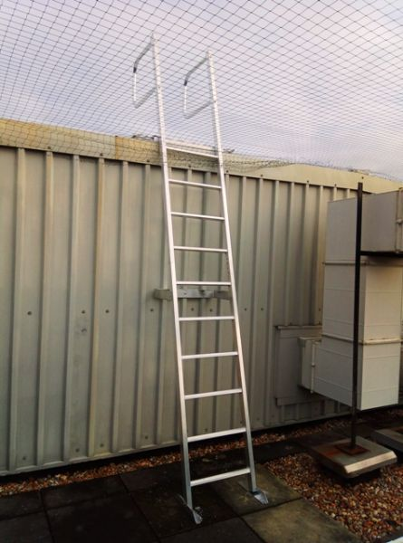 Aluminium Access Ladder. Safe Roof Access. Fixed Vertical Access Ladder with Grap Rails for User Safety. Installed in the UK by height safety specialists.