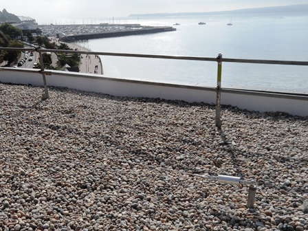 High grade aluminium Capital Safety fall arrest Roofsafe safety wire withstands sea salt in Torquay, Southwest England