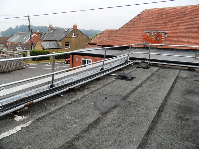 Roof edge protection guardrail system installed in Somerset