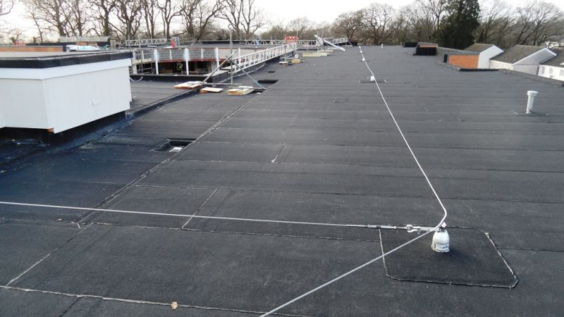 Man safe Roofsafe horizontal fall arrest protection line system in Hampshire, Southampton UK