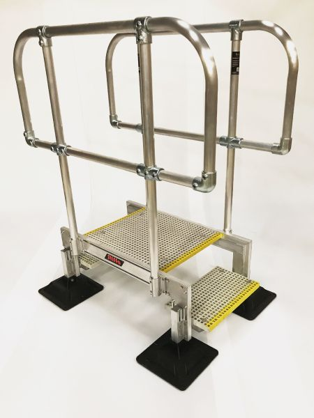 Step Over Access Unit With Non-Slip GRP Grating. Designed By STQ Vantage Safe Access Specialists