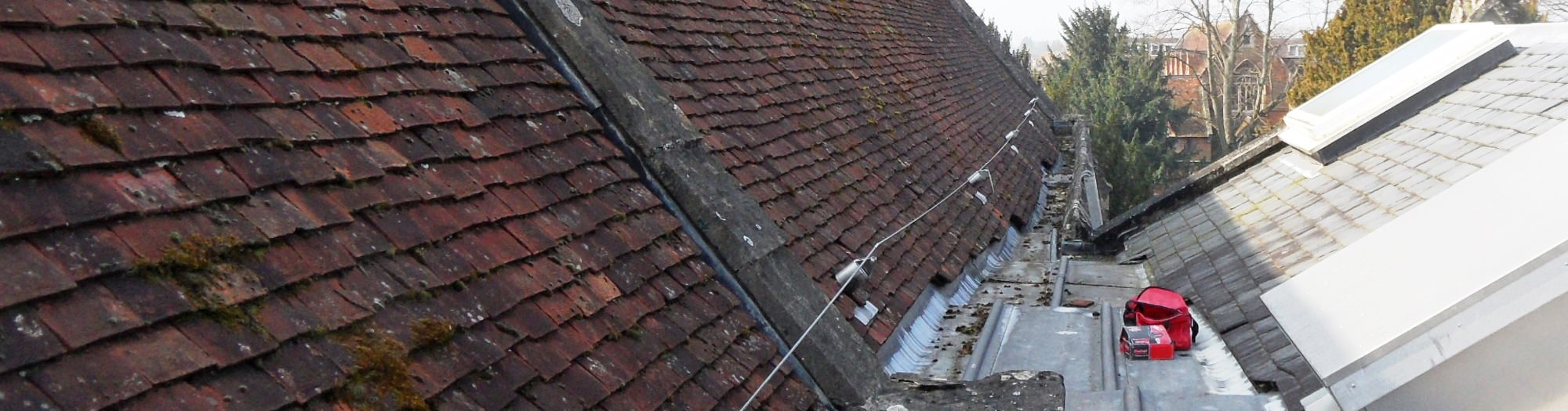 Bespoke fall arrest system fitted to tile roof